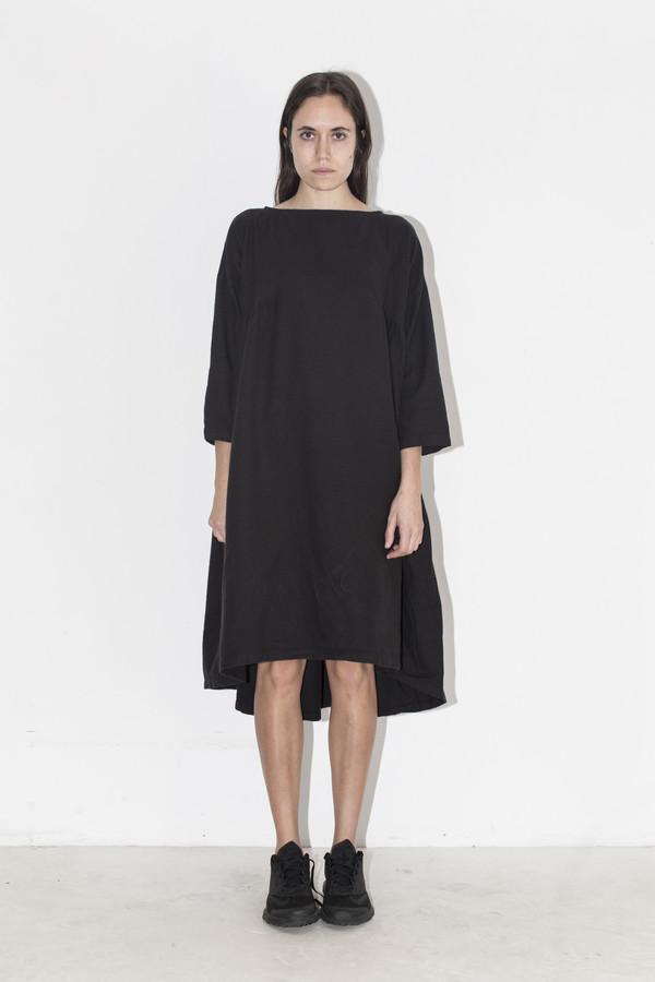 Black Crane Black Long Pleats Dress
