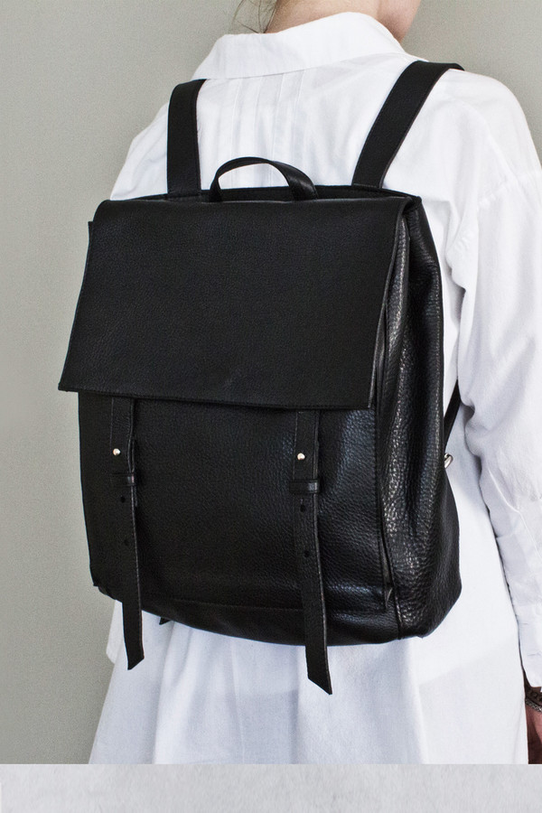 Unisex Le Bas Black Leather Harness Backpack