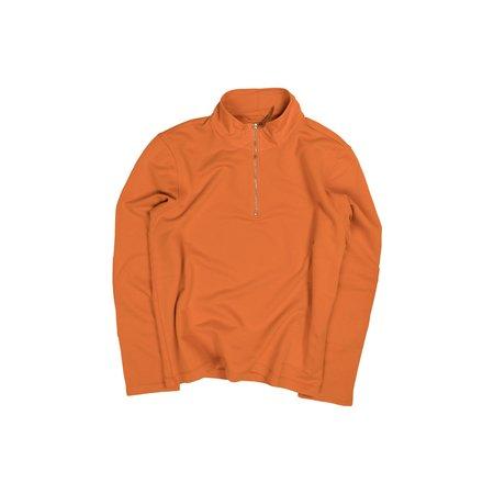 Albam Zipped Jersey Pullover - Burnt Orange