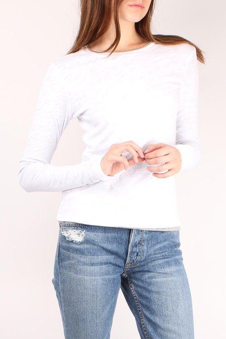 GOLDIE Long Sleeve Double Layer Tee - White/Gray Heather