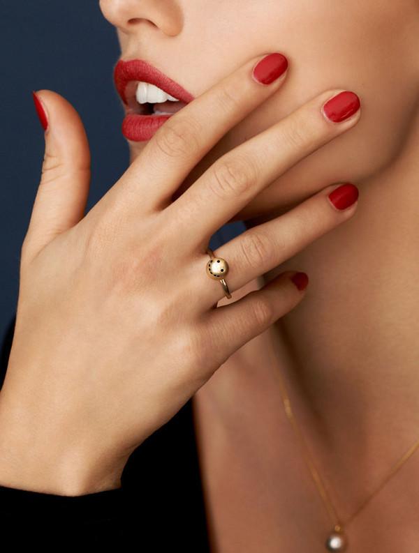 Nektar de Stagni Gold/Zircon Stone Smiley Emoticon Ring