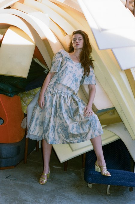 Chelsea Mak Tiered Skirt - Beige Ikat Print