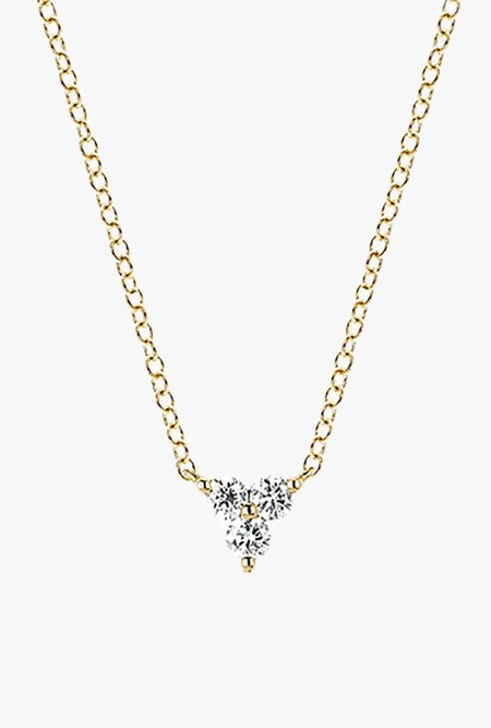 EF Jewelry Diamond Trio Necklace - 14k Gold/White Diamonds