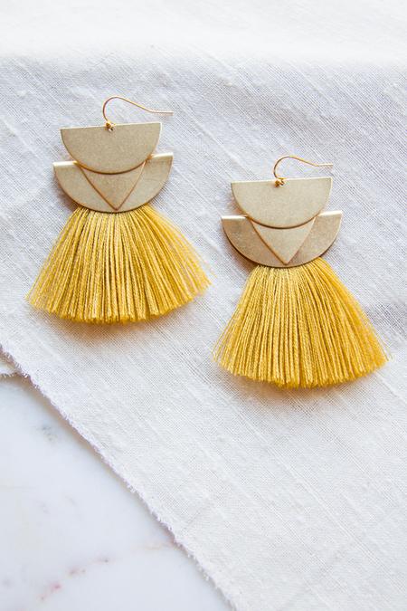 Sandy Hyun Diamond Canyon Earrings - Mustard