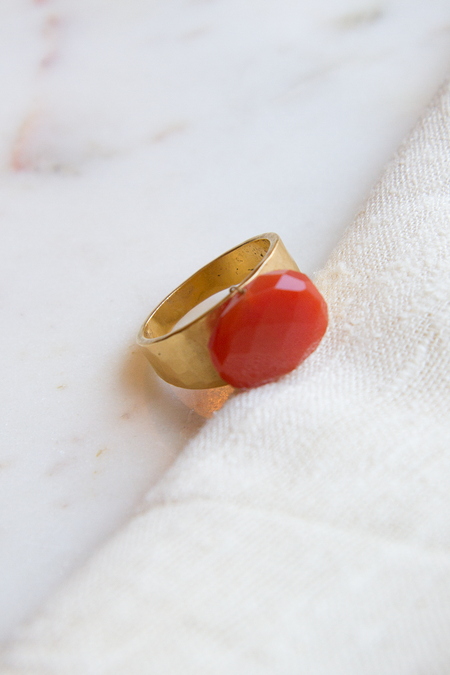 A.V. Max Hammered Ring - 22k Gold Plated Brass