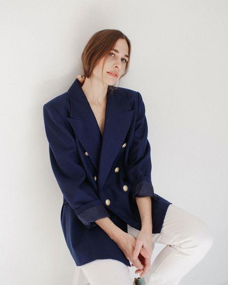 Kaleidos Vintage Nautical Wool Blazer - Navy Blue
