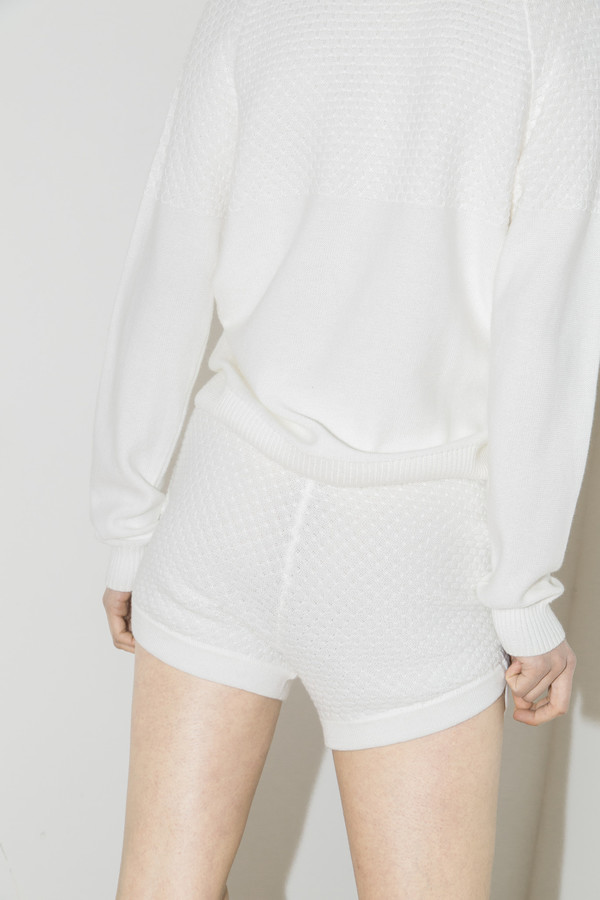 giu giu White Knit Shorts