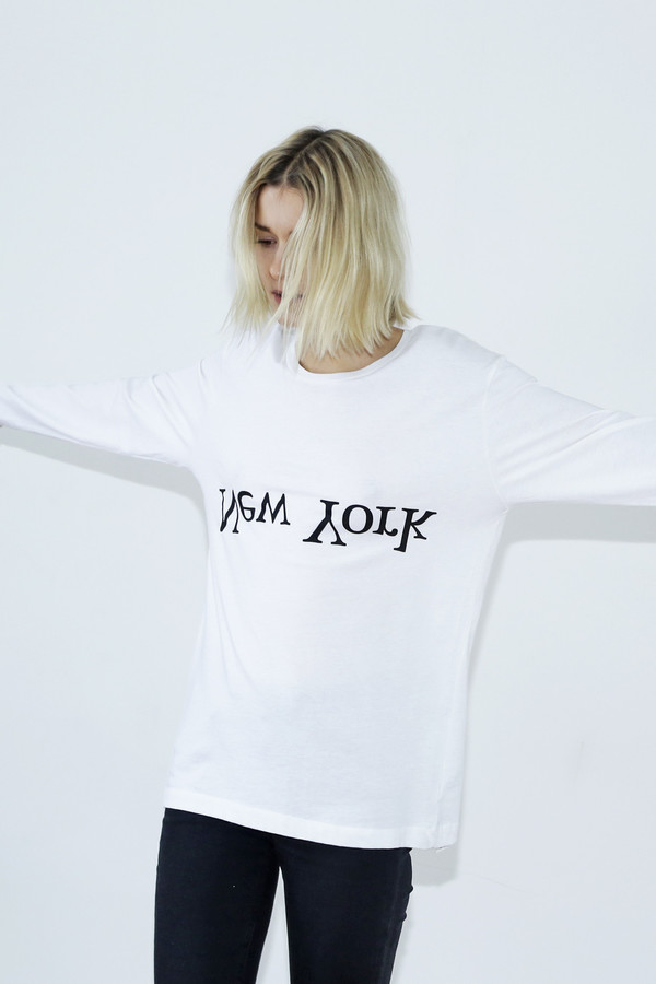 Unisex Assembly White Long-sleeved Logo T-shirt