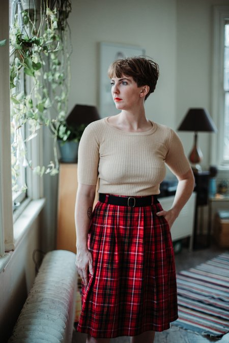 Birds of North America Rail Skirt - Red Plaid