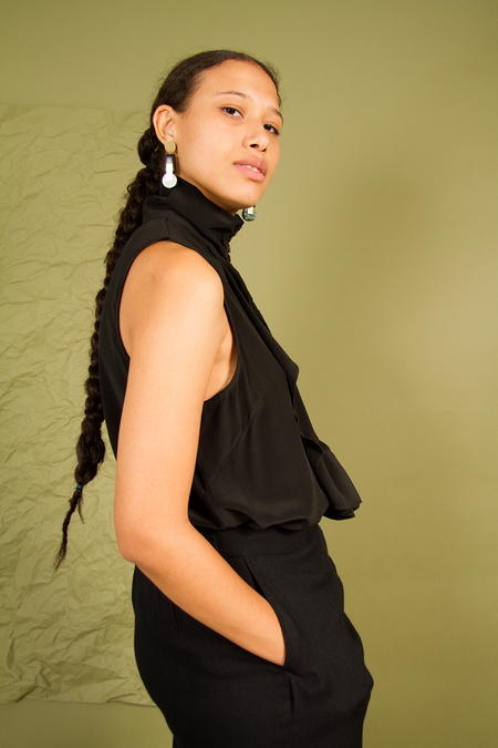 Bhoomki Alana Silk Blouse - Black