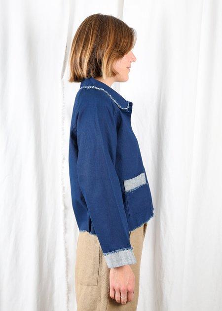 Gravel & Gold Soana Jacket Sample - Blue Cotton Canvas