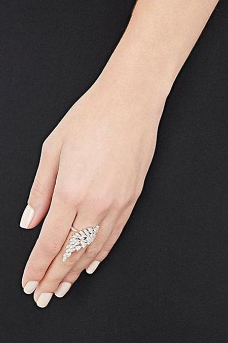 Fallon Monarch Cluster Wing Ring - rhodium clear