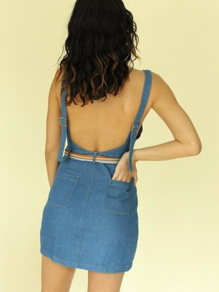 Wild Belle Button Up Jumper Dress - Denim