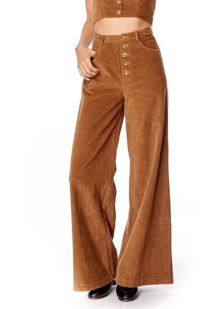 Lost + Wander High Waist Corduroy Pants - Brown