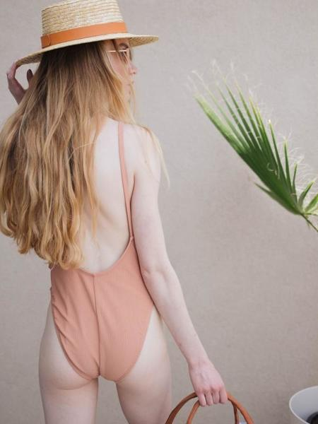 Dear Society Ribbed One Piece Swimsuit - Peach