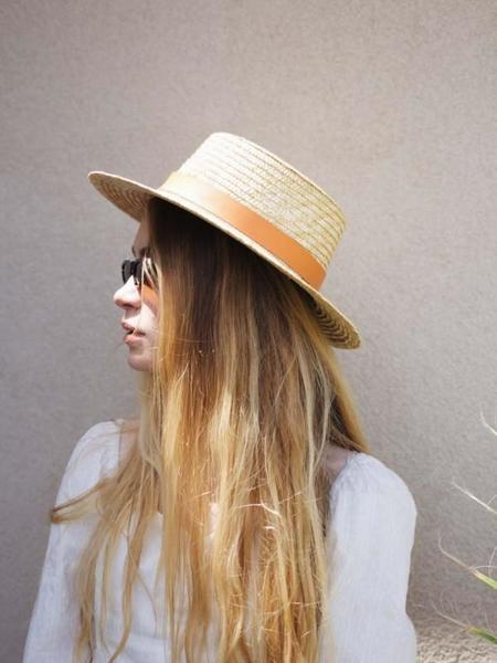 Dear Society Spencer Terracotta Straw Boater Hat