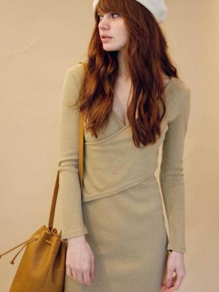 LUCCA Crossover Long Sleeve Dress - TAUPE