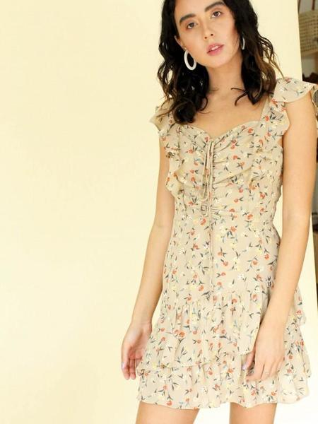 J.O.A. Floral Ruffle Dress - Taupe