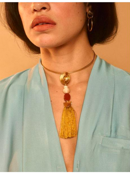 Dear Society Warm Gemstone Tassel Choker