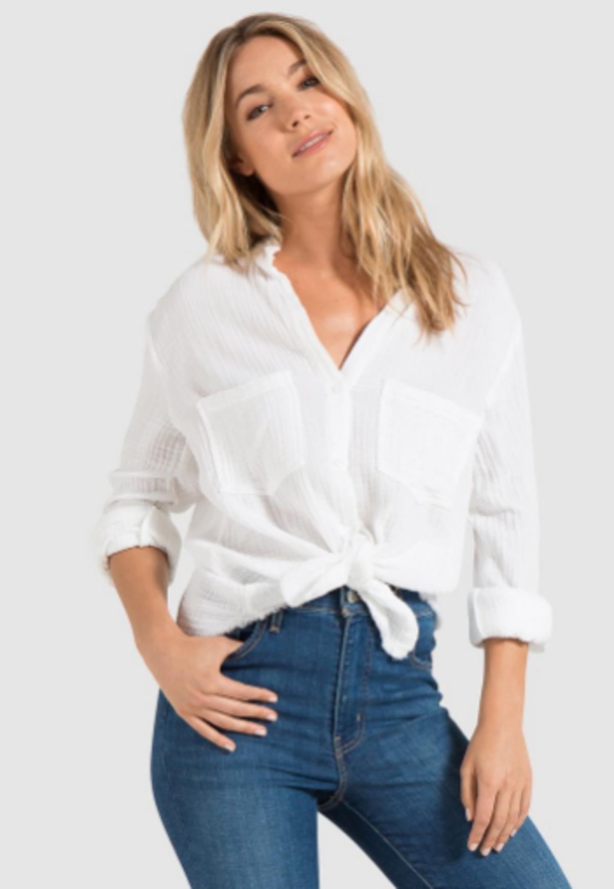 Bella Dahl Womens Frayed Hem Adjustable Sleeves Button-Down Top