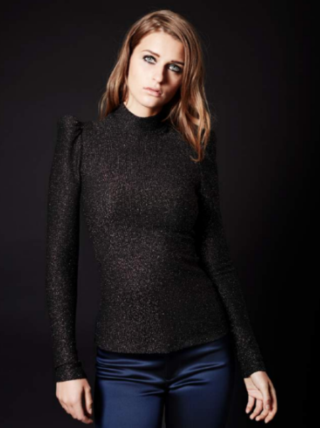 Smythe Puff Sleeve Knit Top - Black Gold