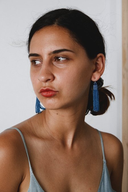 Zartiztry Athena Tassel Earrings - African Blue/Iris Patina