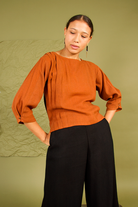 Bhoomki Picasso Silk Noil Top - Brown