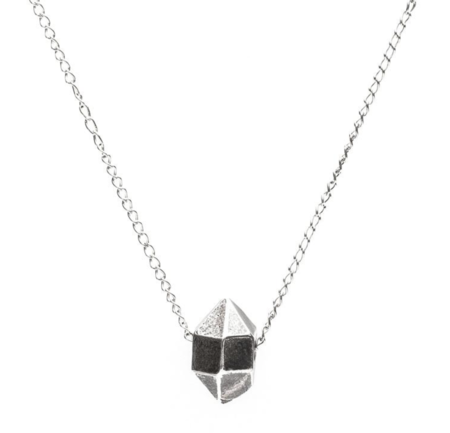Angela Monaco Cast Crystal Necklace with Sliding Charm - Silver