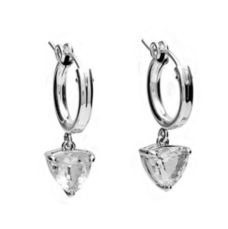 Angela Monaco Eros Trillion Hoop Earrings - Silver/Herkimer