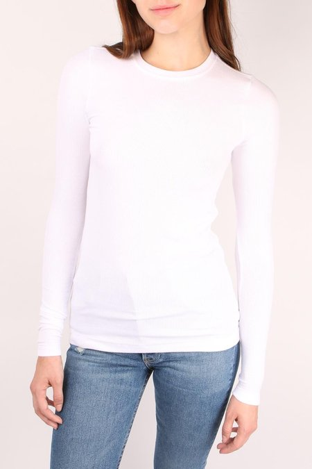 GOLDIE Ribbed Long Sleeve Tee - White