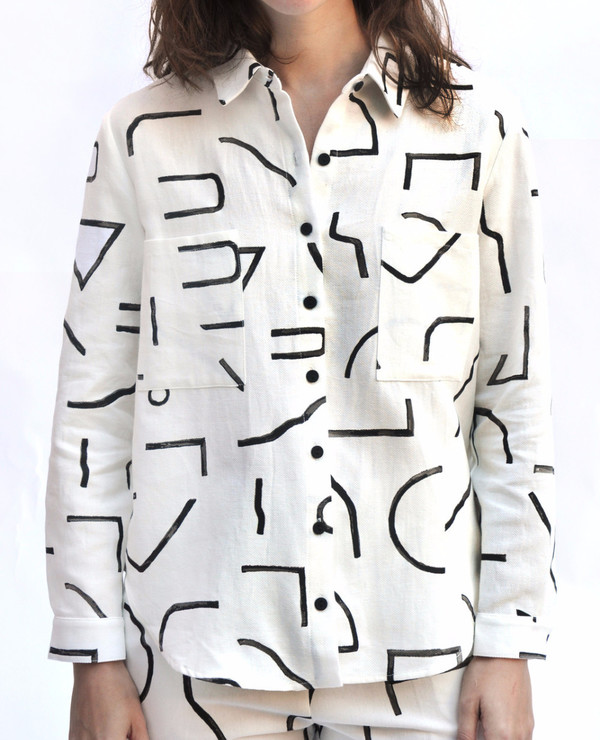 Dusen Dusen Lines Pattern Collared Shirt