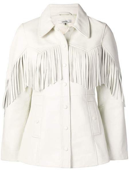 GANNI Angela Leather Fringe Jacket - Egret