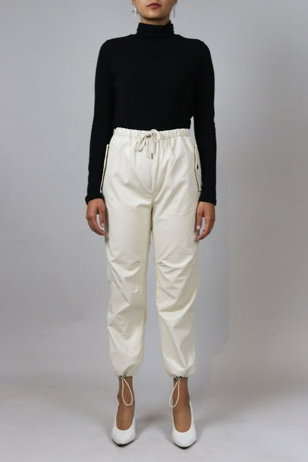 W A N T S Leather Track Pants - Cream