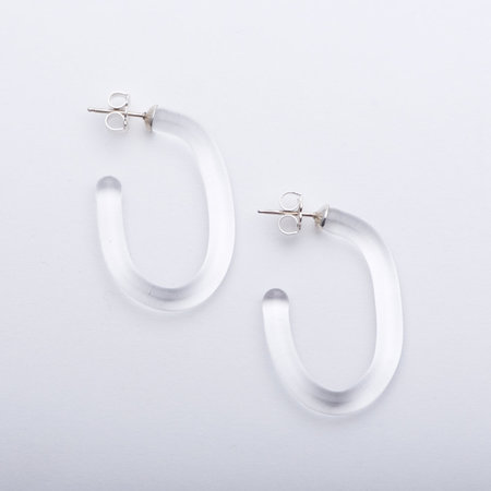 Leigh Miller Small Glass Hoops - Clear