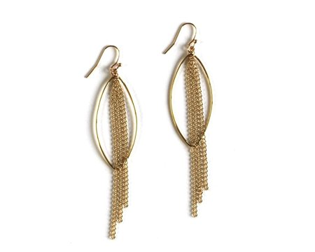 Jennifer Tuton Marquis Fringe Earring - Gold
