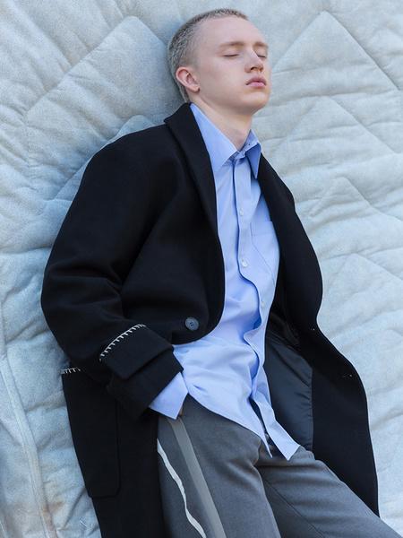 BELIER Stitch Wool Robe Coat - Black
