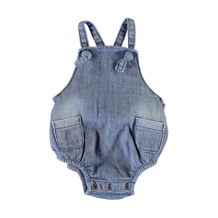 KIDS piupiuchick Baby Romper with Knots - Washed Blue Denim Jeans