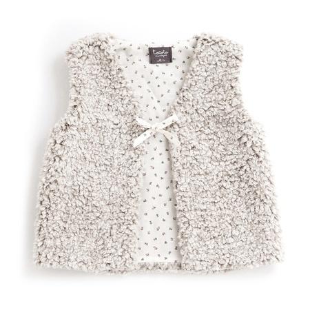 KIDS Tocoto Vintage Vest with Floral Lining - Beige