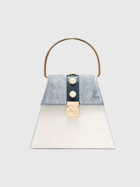 DIERNEAS Square Mini Velvet And Leather Bag - Ice Velvet