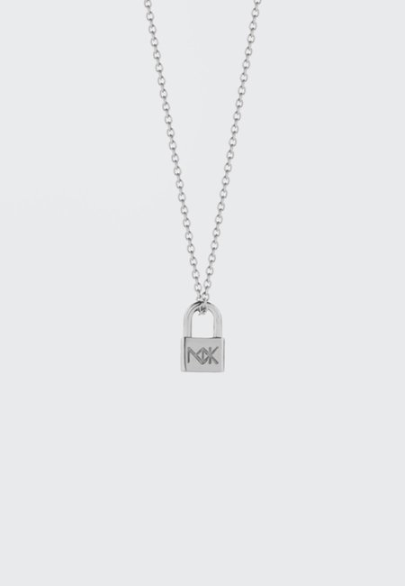 Meadowlark Lock Charm Necklace - Silver