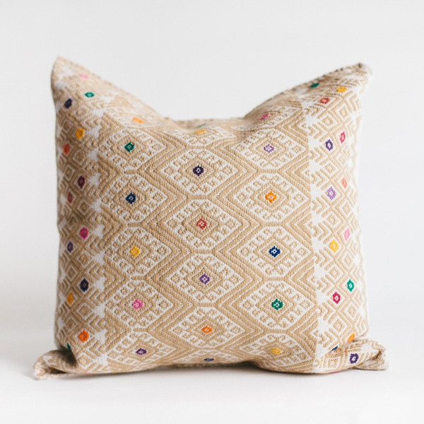 non-perishable goods Cream Mexican Woven Pillow