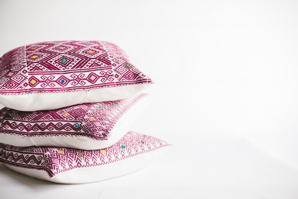 non-perishable goods Fuscia Mexican Woven Pillow