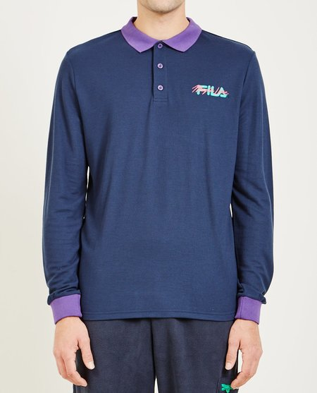 FILA MAGIC LINE MAKALU II LONG SLEEVE POLO - BLUE