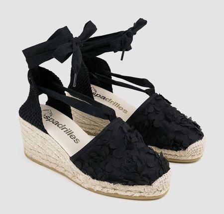 Espadrilles Fabric Wedge Espadrilles - Black
