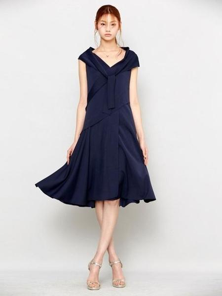 Avouavou Ribbon Silk Dress - Navy