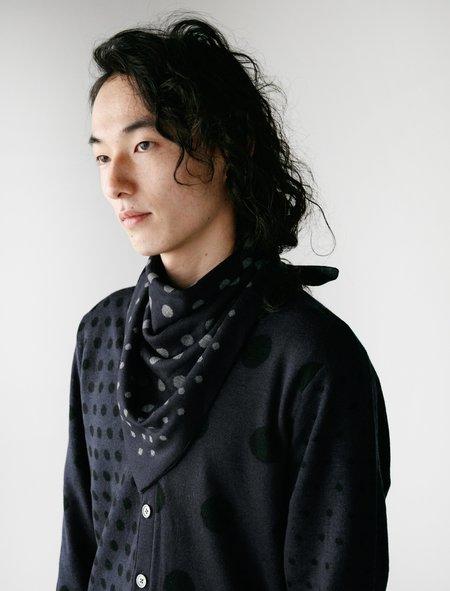 Meticulous Knitwear Bandana Scarf - Navy/Dots