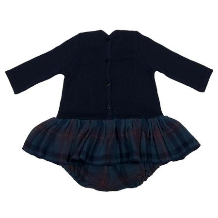 KIDS Pequeno Tocon Baby Dress With Attached Bodysuit - Navy Blue Tartan Print