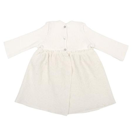 KIDS Pequeno Tocon Baby Long Sleeved Ribbed Wool Dress - Cream