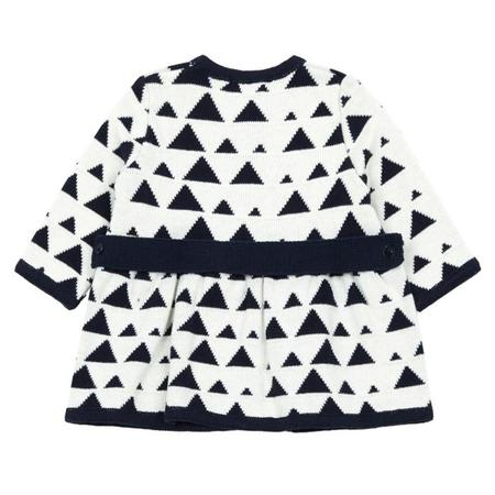 KIDS Pequeno Tocon Baby Sweater Coat - White With Navy Blue Triangle Print