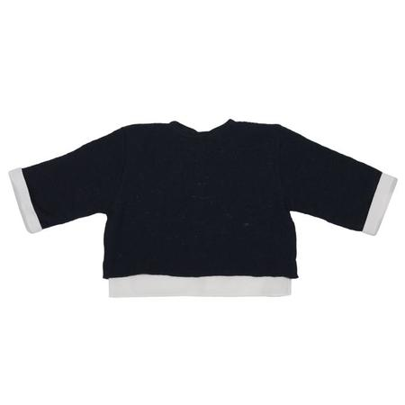 KIDS Pequeno Tocon Baby Wool Sweater With Shirt Attached - Navy Blue/White